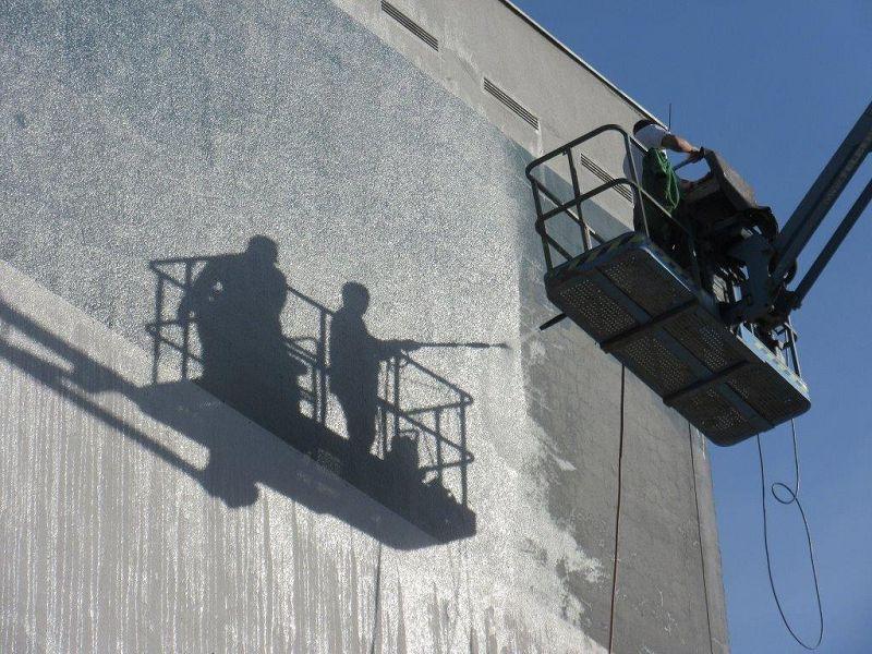 Fassadenreinigung durch Wasserstrahlen oder Sandstrahlen Oberflächenbearbeitung